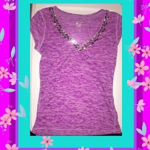 2 for $15: Justice Sheer Tee w/Sequins (Sz 12)